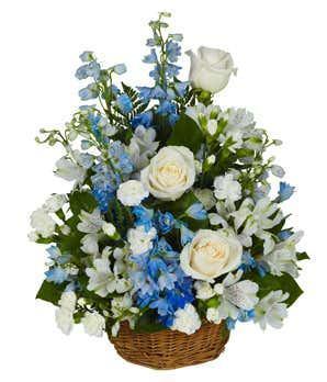 Bright Blue & White Basket