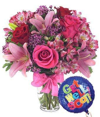 Rose & Lily Celebration with Get Well Soon Balloon