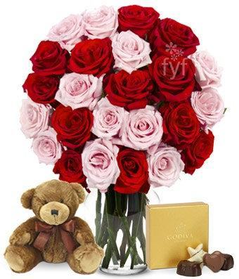 Two Dozen Red & Pink Roses with Godiva and a Bear