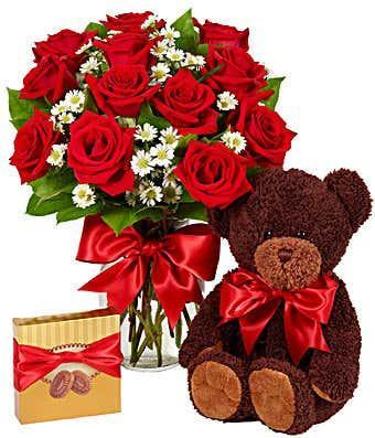 Luxury One Dozen Red Roses & Chocolates