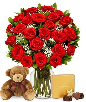 Two Dozen Red Roses with Chocolate and Teddy Bear