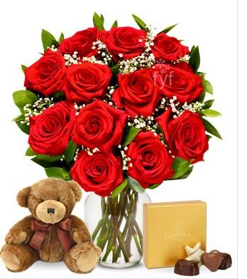 Roses with Chocolate and Teddy