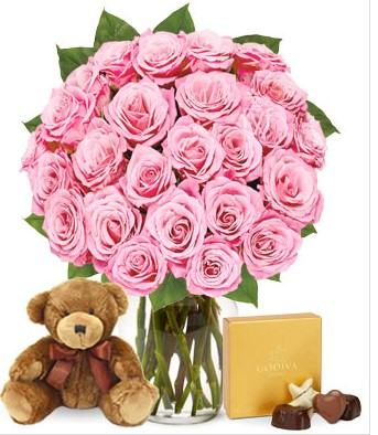 Two Dozen Pink Roses with Chocolate and Teddy Bear