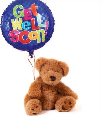Get Well Soon Balloon and Teddy Bear