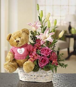 Teddy Bear and Flower Basket