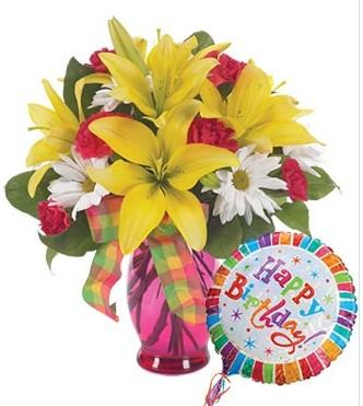 Mixed Flowers Bouquet with Balloon