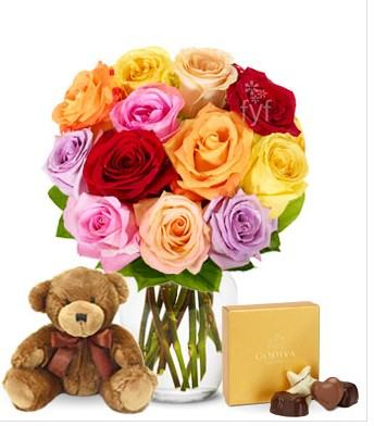 Mixed Roses with Teddy and Chocolate