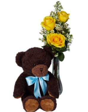 Trio Yellow Roses with Teddy